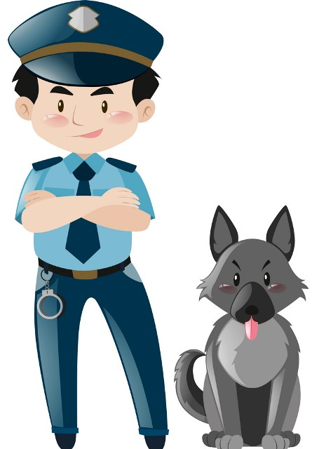 policeman-standing-with-police-dog-vector-18006871